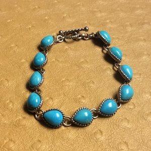 😍925 Silver Turquoise Toggle Bracelet 😍NWOT